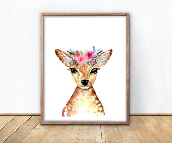 Ink & Ivy - A4 Print - Deer with Crown