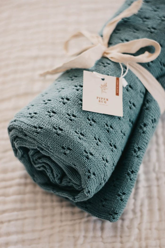 Piper Bug - Heritage Knit Blanket - Sea Foam