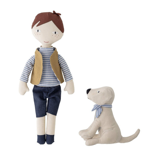 Bloomingville - Boy And Dog Doll Set