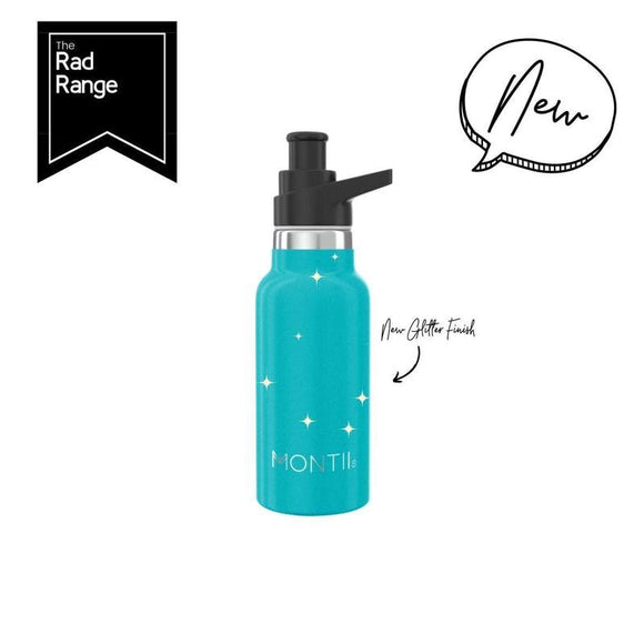 MontiiCo - Insulated Drink Bottles - 350ml - Aqua Glitter