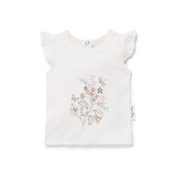Aster & Oak - Summer Floral Print Tee - White Alyssum