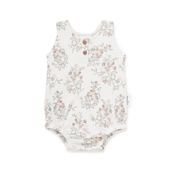 Aster & Oak - Floral Bubble Romper - White Alyssum