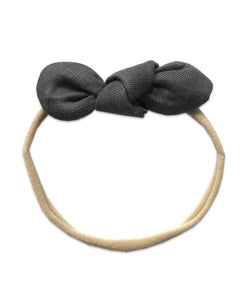 Pretty WIld Kids - Anna Bow Nylon Headband - Gravel Linen