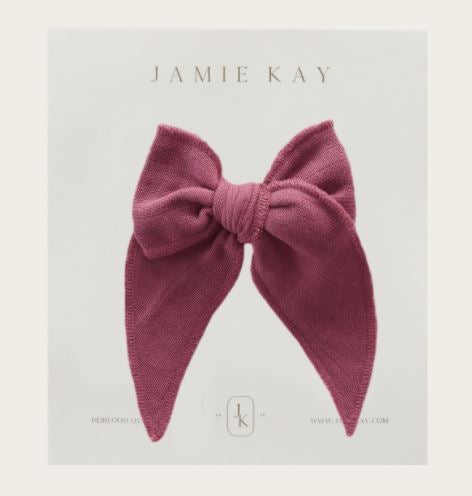 Jamie Kay - Flourish - Organic Cotton Muslin Bow - Sugar Plum