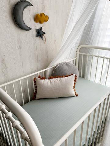 Bassinet Sheet - Organic Icy Steel