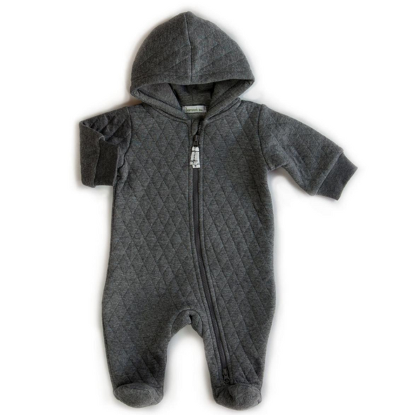 Beanstork - Quilted Hooded Romper - Grey