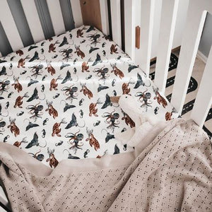 Piper Bug - Jersey Fitted Cot Sheet - Ocean