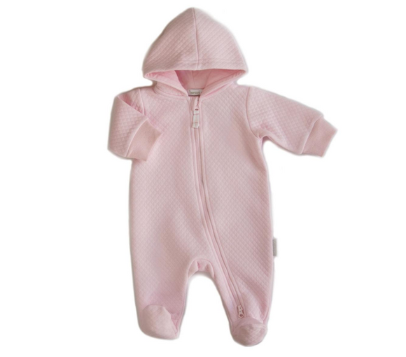 Beanstork - Quilted Hooded Romper - Pink