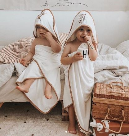Piper Bug - Bamboo Hooded Towel - Gum Leaves