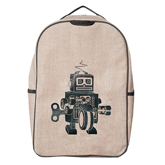 School Backpack - Grey Robot
