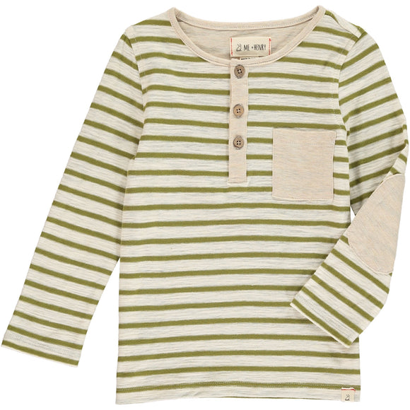 Me & Henry - Olive Stripe Henley Tee