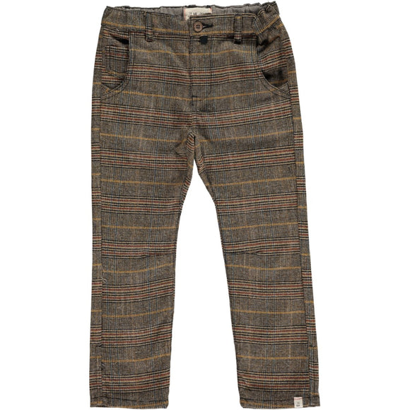 Me & Henry - Brown Plaid Pants with Suspenders