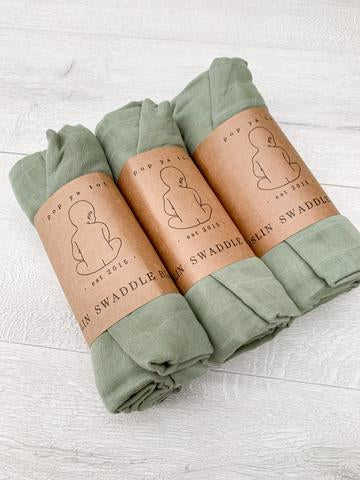 Muslin Organic Swaddle - Summer Mint