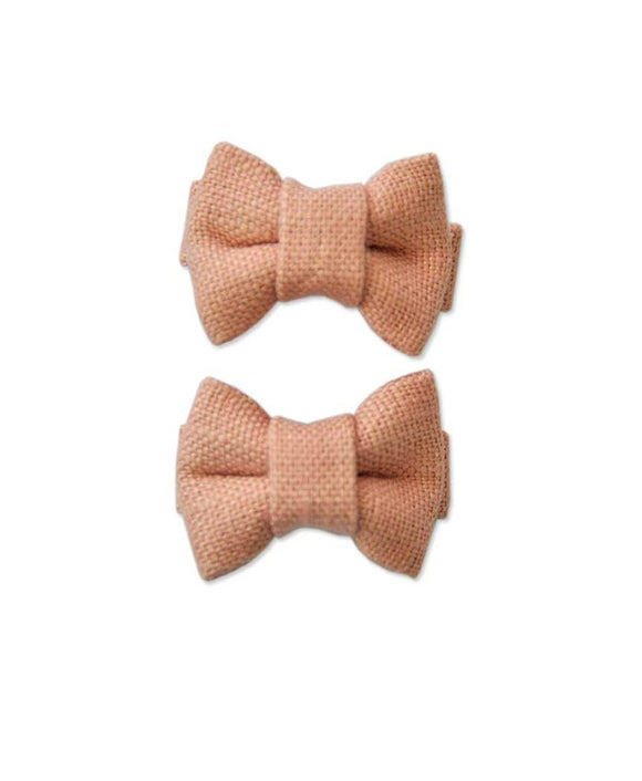 Pretty WIld Kids - Katie Twin Mini Bows - Blush Linen