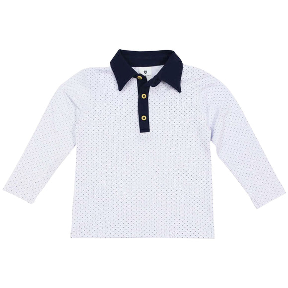 Korango - Classic Boy - Long Sleeve Polkadot Rugby Top - White