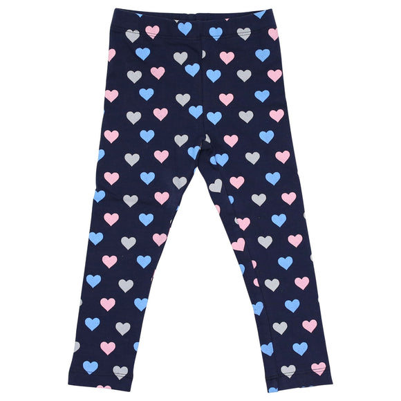 Korango Hearts Print Leggings - Navy