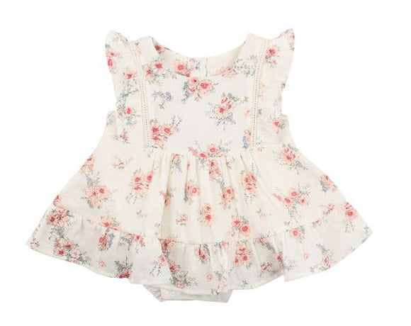 Bebe - Lily Print Over romper Dress - Lily Flora