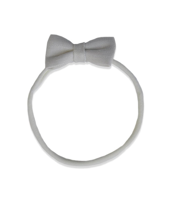 Pretty WIld Kids - Minnie Bow Nylon Headband - Natural LInen