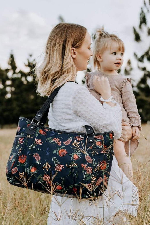 OiOi - Tote Nappy Bag - Botanical Navy