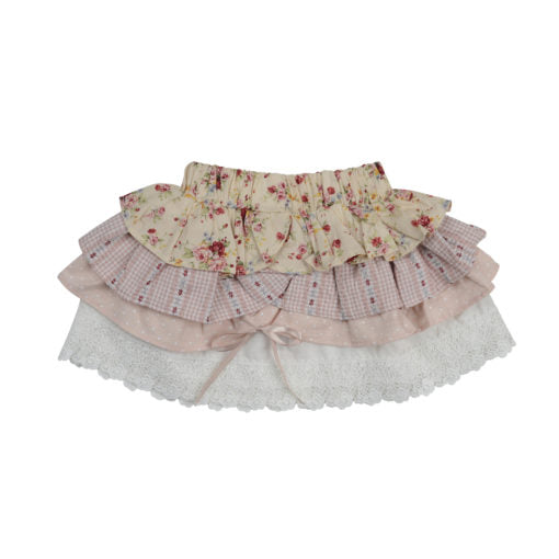 Arthur Ave - Nude Floral Layered Skirt
