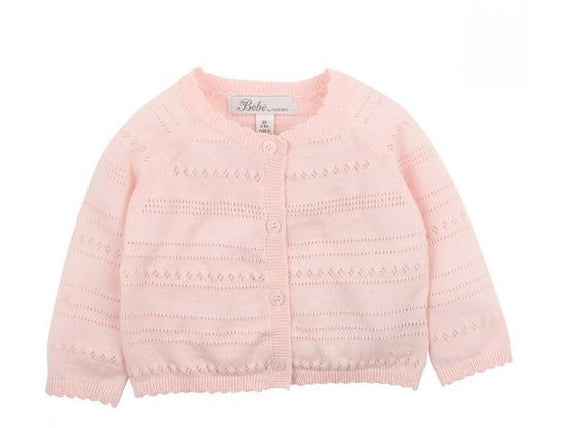 Bebe -  BARELY PINK POINTELLE CARDIGAN