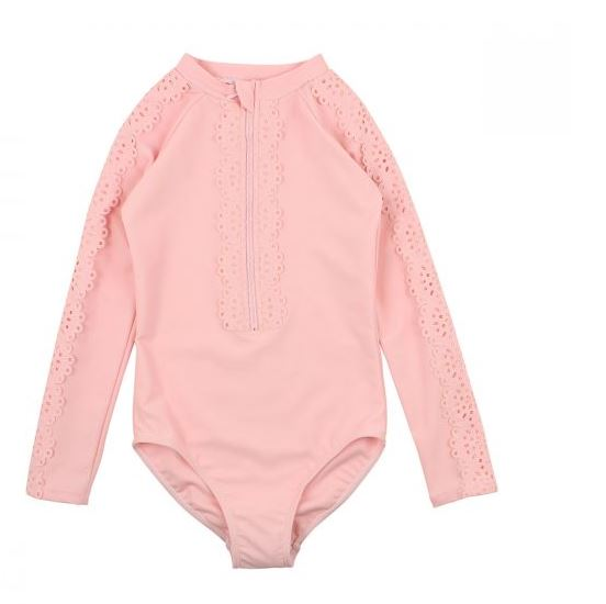 Bebe -RUBY LONG SLEEVE LACE SWIMSUIT 3-10YRS