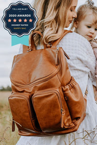 OiOi - Faux Leather Backpack Nappy Bag -Tan
