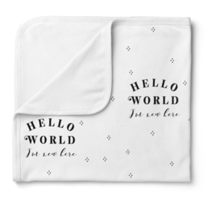 Piper Bug - Jersey Swaddle Blanket - Hello World White
