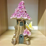 Solar Power Fairy House - Pink Flower Medium