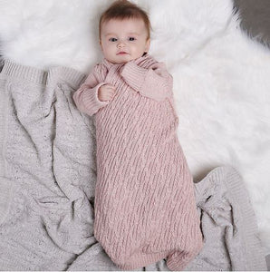 Jujo Baby - Shwrap - Lattice Cable Knit - Blush Pink