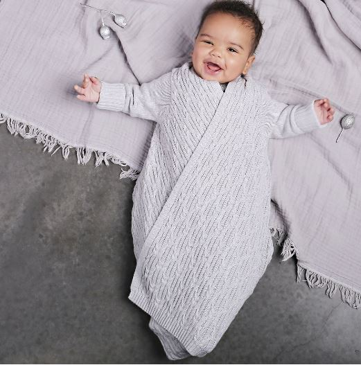 Jujo Baby - Shwrap - Lattice Cable Knit - Silver