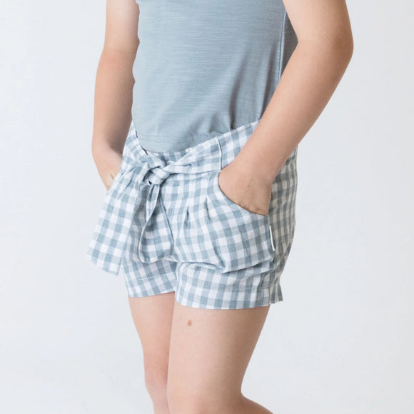 Love Henry - Girls Tie Waist Shorts - Blue Gingham
