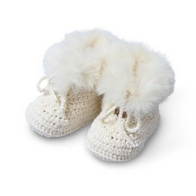 Baby Booties - Faux Fur - Hand Crochet
