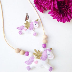 Cherished Unicorn Necklace/Hairclip - Purple