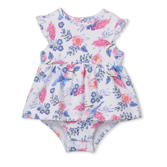 Milky - Blue Bird Floral Baby Dress