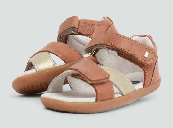 Bobux - Step Up - Sail Sandal - Caramel + Misty Gold