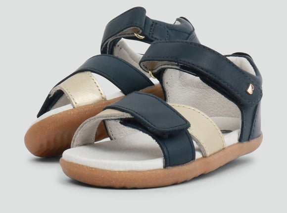 Bobux - Step Up - Sail Sandal - Navy + Misty Gold