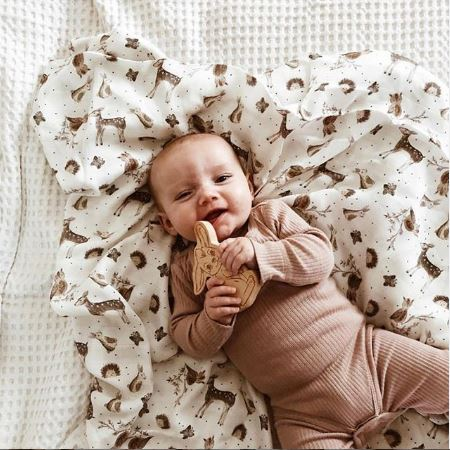Piper Bug - Bamboo Muslin Swaddle Blanket - Woodland