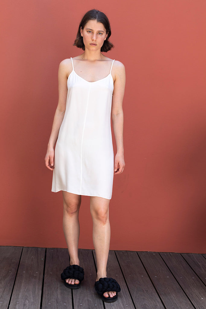 Silk Slip Dress - White