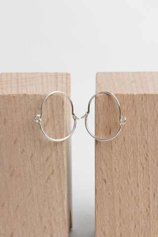 Curve Hoop Earrings - Silver