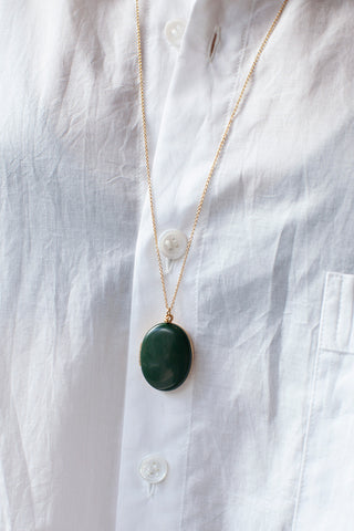Locket Long Necklace - Green