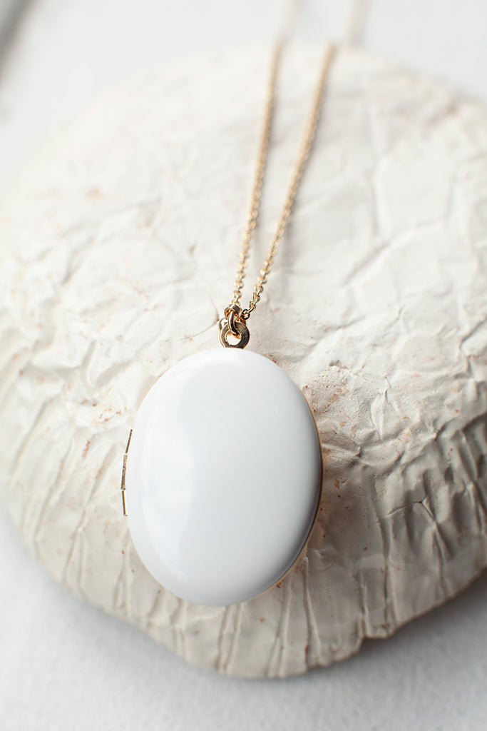 Locket Long Necklace - White