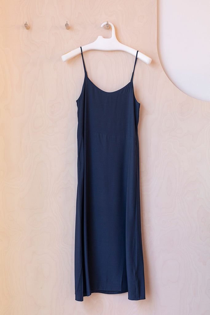 Silk Slip Long Dress - Navy