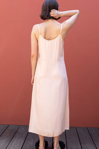 Silk Slip Long Dress - Nude