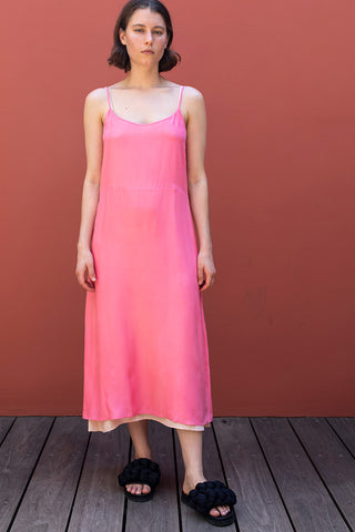 Silk Slip Long Dress - Pink