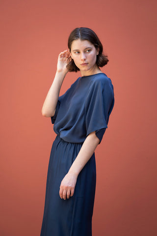Silk T-Shirt - Navy