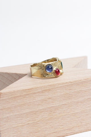 Suede Ring - Green/Red/Blue