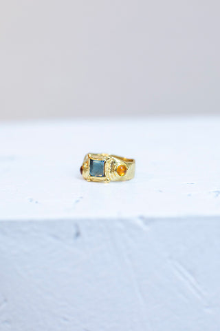 Suede Ring - Pale Blue/Pink/Yellow