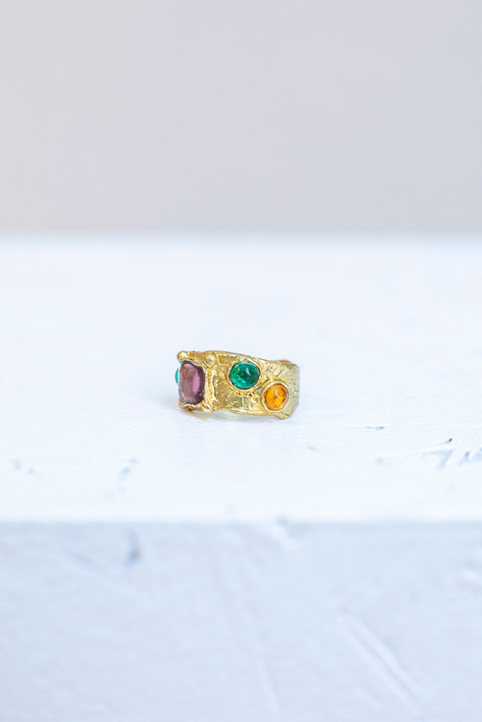 Suede Ring - Lavender/Green/Yellow