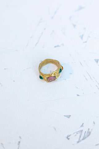 Suede Ring - Pink/Green/Orange